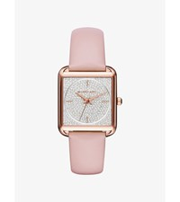 Lake Pave Rose Gold Tone And Leather Watch