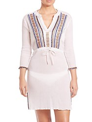 Shoshanna Corfu Beading Drawstring Cotton Tunic White