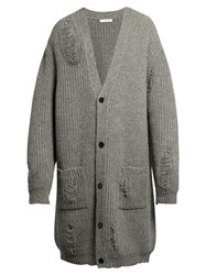 J.W.Anderson Distressed Alpaca And Wool Blend Cardigan Grey