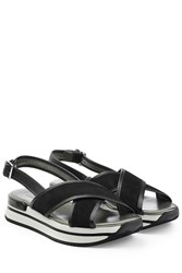 Hogan Sandals With Suede And Leather Black