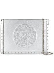 Balmain Debossed Logo Clutch Bag Silver