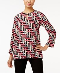 Alfani Printed Keyhole Blouse Only At Macy's Overlap Interlock