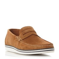 Dune Brightling Wedge Sole Suede Penny Loafer Tan