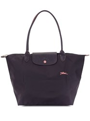 Longchamp Logo Embroidered Shoulder Bag Purple