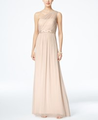 Adrianna Papell Embellished One Shoulder Gown Almond