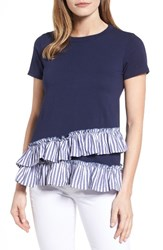 Bobeau Women's Poplin Ruffle Tee Navy White Dark Blue