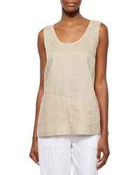 Go Silk Linen Scoop Neck Tank Sesame