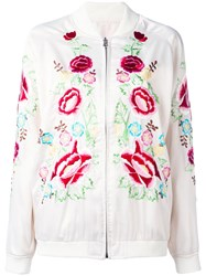 P.A.R.O.S.H. Rose Embroidered Bomber Jacket White