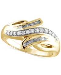 Macy's Diamond Bypass Ring 1 4 Ct. T.W. In 14K Gold Plated Sterling Silver Yellow Gold