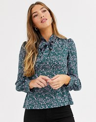 Fashion Union Bow Neck Blouse With Balloon Sleeve Green