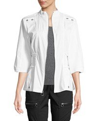 Xcvi Claude 3 4 Sleeve Zip Front Jacket White