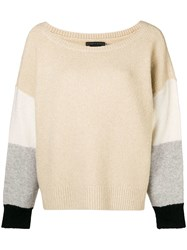Alice Olivia Colour Block Jumper Nude And Neutrals