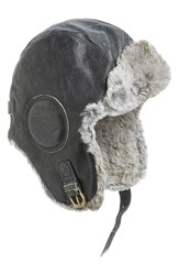 Men's Nathaniel Cole Genuine Rabbit Fur Lined Leather Aviator Hat