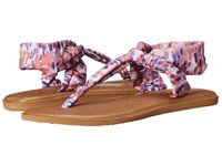 Sanuk Yoga Sling Ella Prints Spiced Coral Rain Women's Sandals Pink