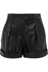 Philosophy Di Lorenzo Serafini Crystal Embellished Crinkled Faux Leather Shorts Black