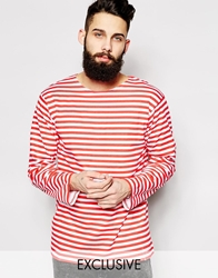 Reclaimed Vintage Military Striped Long Sleeve T Shirt Red