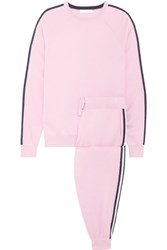 Olivia Von Halle Malibu Silk Blend Sweatshirt And Track Pants Set Baby Pink