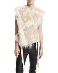 Helmut Lang Two Tone Faux Fur Vest Cream