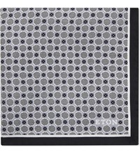 Eton Polka Dot Silk Pocket Square Grey