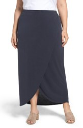 Nic Zoe Plus Size Women's Boardwalk Knit Wrap Maxi Skirt Washed Midnight