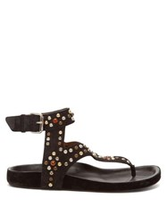 Isabel Marant Elwina Crystal Embellished Suede Sandals Black