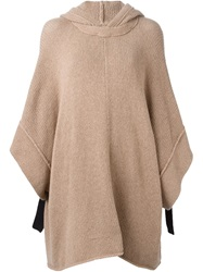 See By Chloe Hooded Knitted Poncho Brown