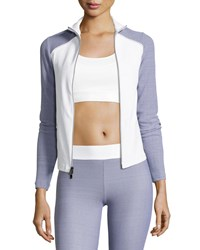 Heroine Sport Tracking Fitted Performance Jacket Gray White Gray White