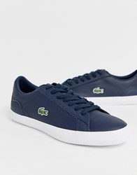 Lacoste Lerond Trainers In Navy Leather