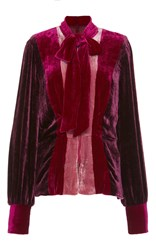 Anna Sui Vintage Velvet Magneta Color Block Jacket Multi