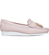 Carvela Comfort Cost Snakeskin Embossed Leather Loafers Nude