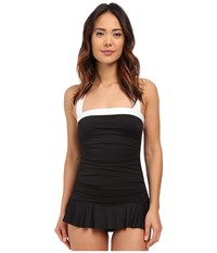 Lauren Ralph Lauren Bel Aire Shirred Bandeau Skirted Mio Slimming Fit W Soft Cup Black Women's Swimsuits One Piece