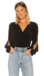 7 For All Mankind Cross Front Drape Top In Black. Jet Black