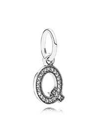 Pandora Design Pandora Pendant Sterling Silver And Cubic Zirconia Letter Q Moments Collection Silver Clear