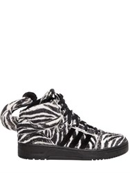 Adidas By Jeremy Scott Fake Fur Zebra Print High Top Sneakers
