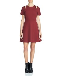 1.State Shoulder Cutout Fit And Flare Dress Wine