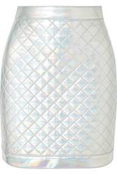 Balmain Iridescent Quilted Faux Leather Mini Skirt Silver