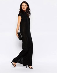Ichi Sleeveless High Neck Maxi Shift Dress Black