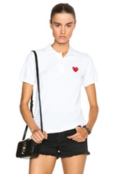 Comme Des Garcons Play Cotton Polo With Red Emblem In White