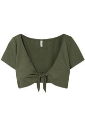 Solid And Striped Woman Cropped Tie Front Stretch Ponte Top Army Green