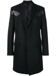 Les Hommes Leather Insert Midi Coat Black
