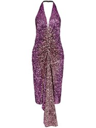 Halpern Halterneck Sequin Embellished Dress Purple
