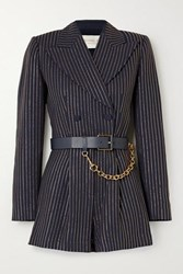 Michael Kors Collection Belted Crystal Embellished Crepe Playsuit Midnight Blue