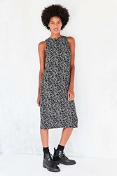 Kensie Face Doodle Crepe Midi Dress Black And White