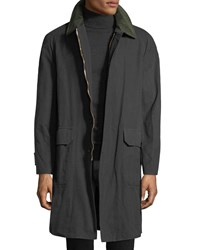 Stefano Ricci Waxed Cotton Parka Coat With Leather Trim Green