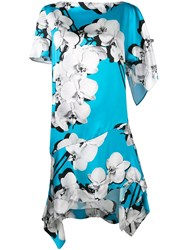 Roberto Cavalli Asymmetric Orchid Print Shift Dress Blue