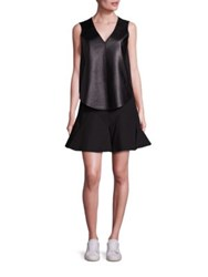 Derek Lam Lamb Leather Blend Vest And Sleeveless Fit And Flare Dress Set Black