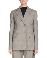 Proenza Schouler Notched Collar Single Breasted Two Button Plaid Wool Suiting Blazer Black White