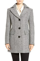 Gallery Women's Notch Collar Tweed Coat White Black
