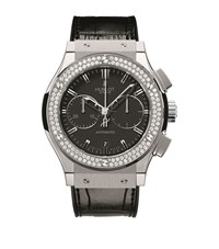 Hublot Classic Fusion 45Mm Chronograph Diamond Watch Unisex Black