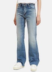 Saint Laurent High Waisted Flared Jeans Blue